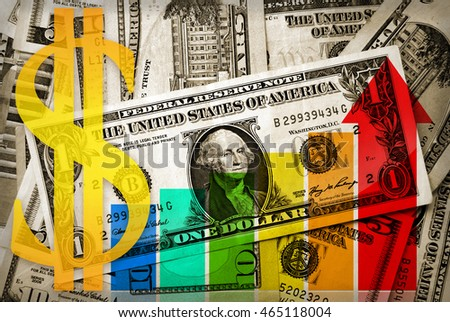 Usd sign and increasing business arrow and bars on pile of dollars cash background
