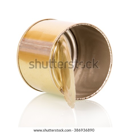 Use an empty tin can isolated on white background. - stock photo