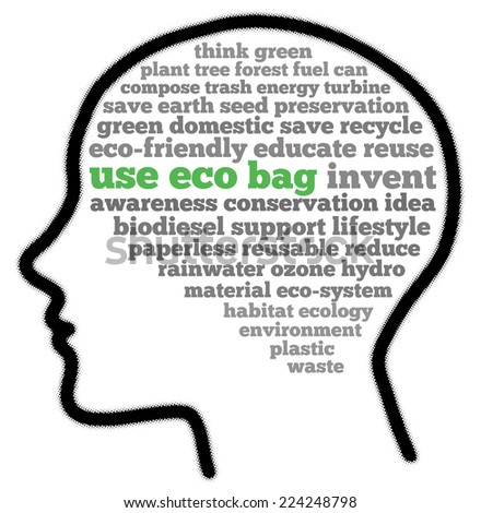 Use eco bag in words cloud - stock photo