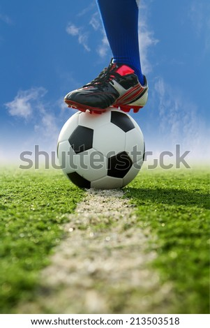 Use the handle end of a soccer kick. - stock photo