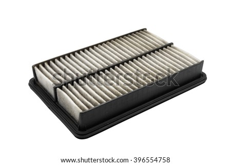 Used air filter for car, auto spare part, isolated on white background with clipping path