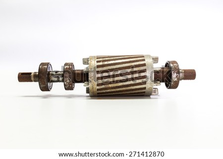 used and breakdown rotor on the white background - stock photo