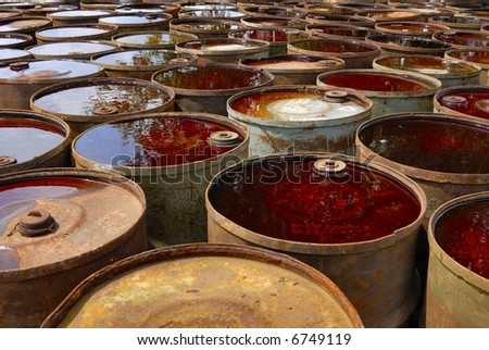 used and rusty chemical barrel storage - stock photo