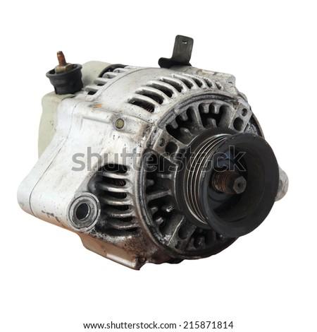 Used automobile generator or Dynamo isolated on white background - stock photo