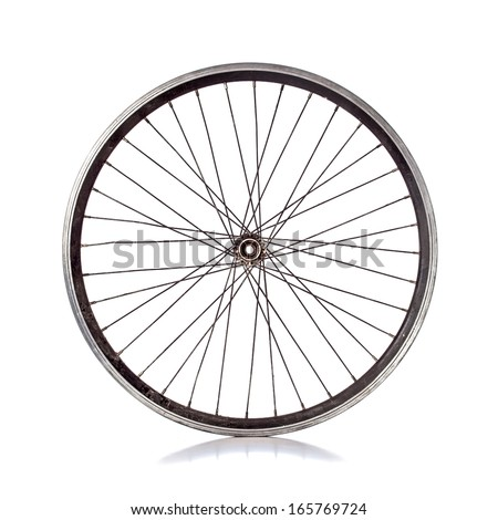 Used bicycle wheel with no tire on white background