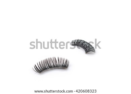 Used Black false eyelash isolated on white background
