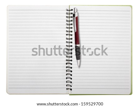 used blank note book with ring binder and ball pen, isolated on white. - stock photo