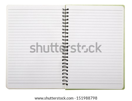 used blank note book with ring binder isolated on white