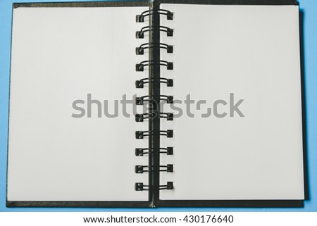 used blank note book with with filter effect retro vintage style