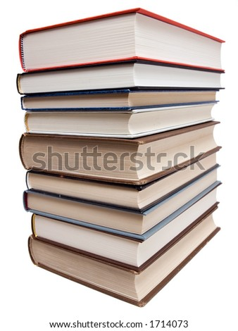 Used books on a white background