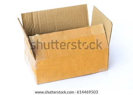 Used brown paper box on white background