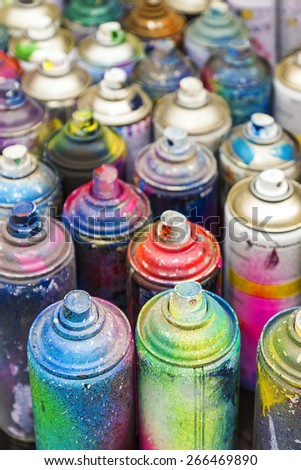 used cans of spray paint - stock photo