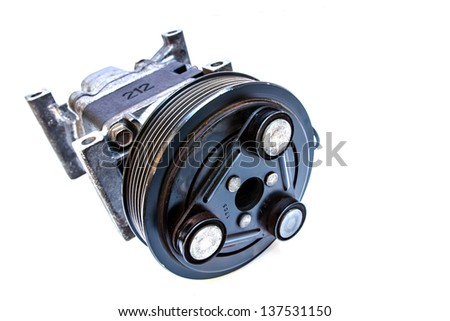 Used car air compressor isolated on white background - stock photo