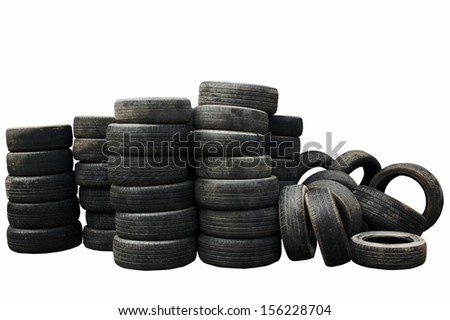 Used car tires isolated on white background  - stock photo