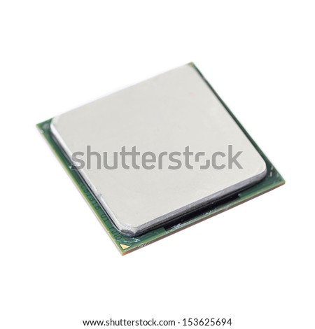 Used Central Processing Unit (CPU) isolated on white background