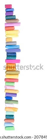 used chalk pastels, isolated on white, with place for text