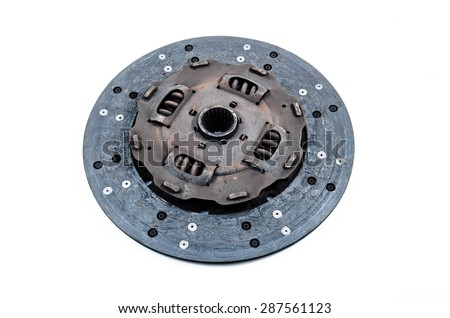 Used Clutch Disc on white background.Dirty or demoded