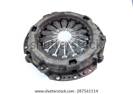 Used Clutch Pressure Plate on white background.Dirty or demoded - stock photo