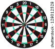 used dartboard with three darts isolated on white background - stock photo