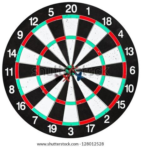 used dartboard with three darts isolated on white background - stock photo