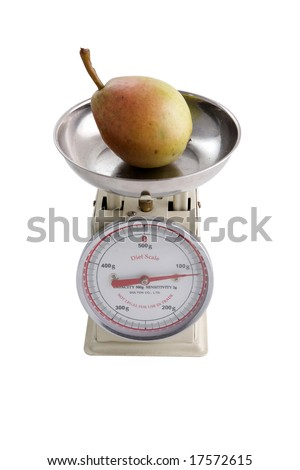 used diet scale with a pear - stock photo