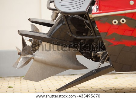 Used dirty Motorboat engine closeup.view of the propellers. - stock photo