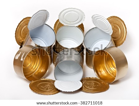 Used empty tin cans - stock photo