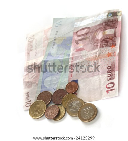used euro coins and Banknote isolated on white