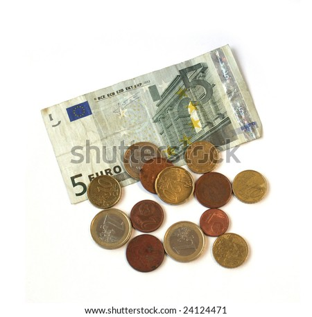 used euro coins and 5 euros banknote isolated on white