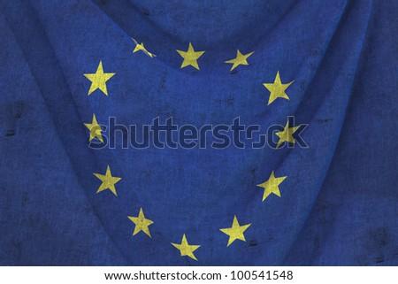 used fabric EUROPE flag - close up - stock photo