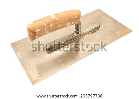 Used finishing trowel isolated on white - stock photo