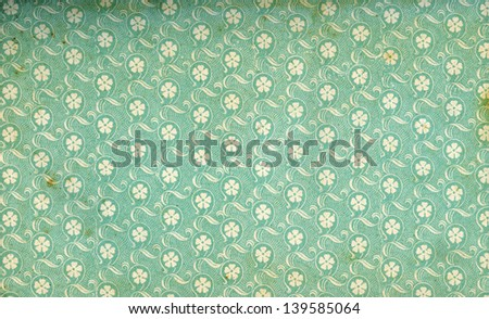 Used floral vintage wallpaper - circa 1905 - natural grainy and grungy surface - XL size - stock photo