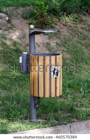 Used for dumping trash and cigarette litter. - stock photo