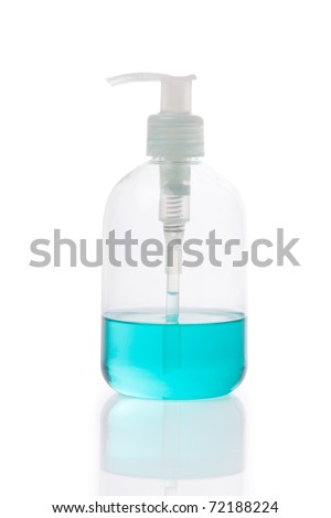 used hand gel in pump bottle isolated white with reflex - stock photo