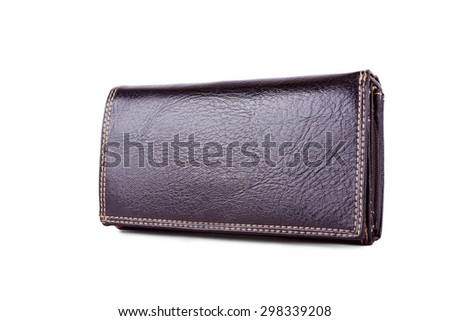 Used leather wallet isolated on a white background
