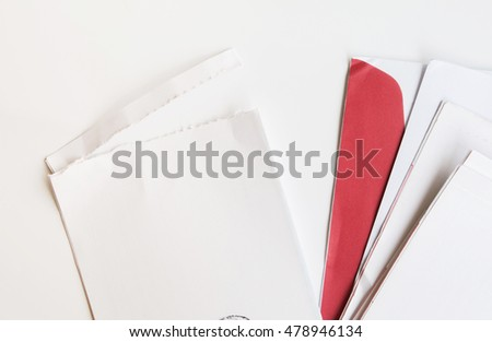 Used mail envelope on white background.