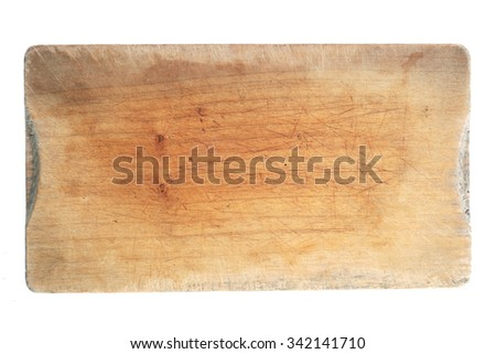 used natural wooden cooking board isolated on a white background.