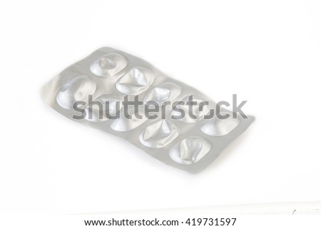 Used one packs of pills on white background