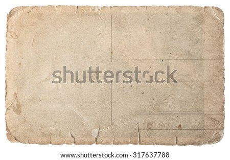 Used paper isolated on white background. Vintage torn cardboard - stock photo