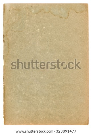 Used paper page texture with stains and worn edges. Vintage cardboard background
