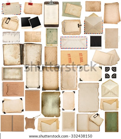 Used paper sheets, books, pages and old cardboard isolated on white background. Vintage photo frames. Antique clipboard and photo corner - stock photo