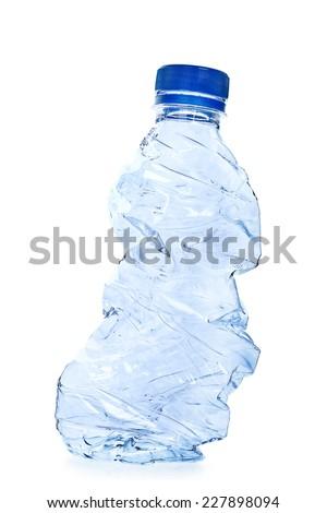 used plastic bottle isolated on white - stock photo
