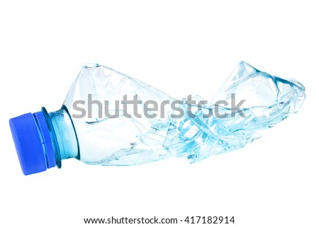 Used plastic bottle on a white background - stock photo