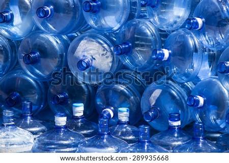used plastic bottles large blue - stock photo