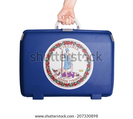 Used plastic suitcase with stains and scratches, printed with flag, Virginia - stock photo