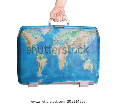 Used plastic suitcase with stains and scratches, world map - stock photo