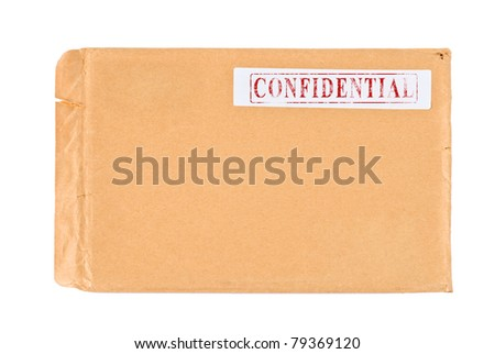 Used postal Confidential envelope, isolated on white background