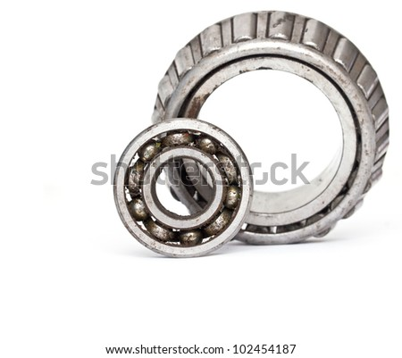 Used rusty metal ball bearing, isolated
