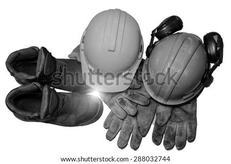 Used safety equipment isolated on white background. - stock photo
