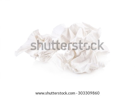 used screwed paper tissue isolated on white background - stock photo